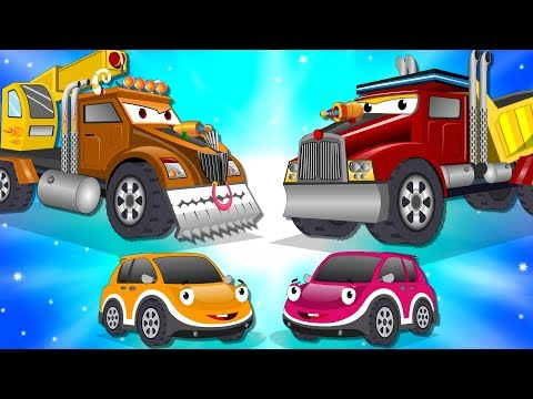 Crane Truck vs Super Dump Truck | Police Car Street Vehicles Kids Cartoon Songs