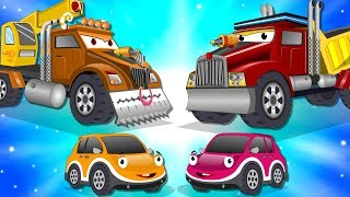 Scary Crane Truck vs Super Dump Truck | Police Car Street Vehicles Kids Cartoon Songs