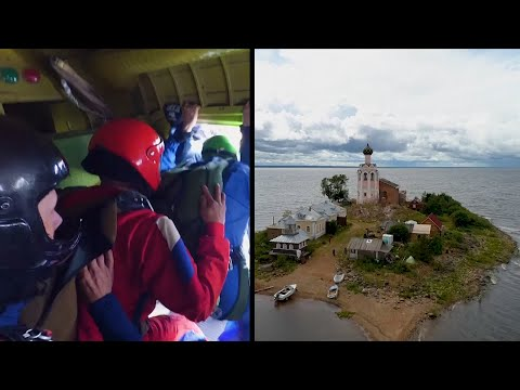 Russian Skydivers Restoring An Ancient Island Monastery