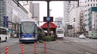 岡山電気軌道 岡山駅前 電車の往来 Okayama Electric Tramway Okayama-Ekimae Station (2019.3)