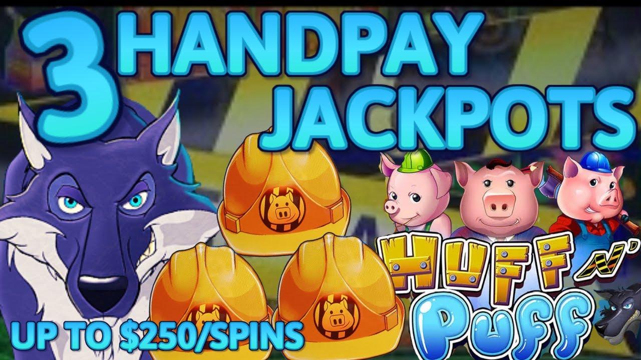 HIGH LIMIT Lock It Link Huff N' Puff (3) HANDPAY JACKPOTS 🔒 $100 BONUS Slot Machine UP TO $250 SPINS