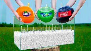 Experiment: Giant Balloons of Coca Cola & Fanta & Sprite VS Mentos