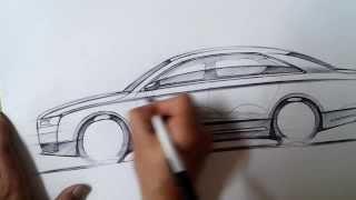 """온스케치 TV Car Sketch - """"Audi A8 Concept Design Sketch (BIC Ballpen)"""""""
