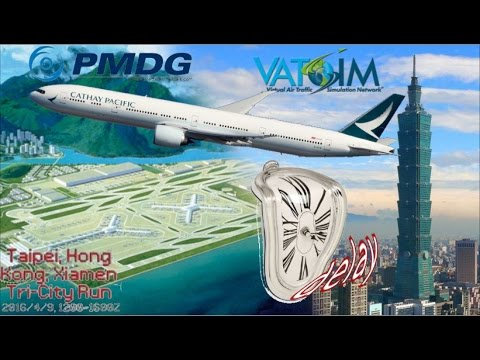 PMDG B77W flies RCTP Taipei to VHHH Hong Kong on Vatsim