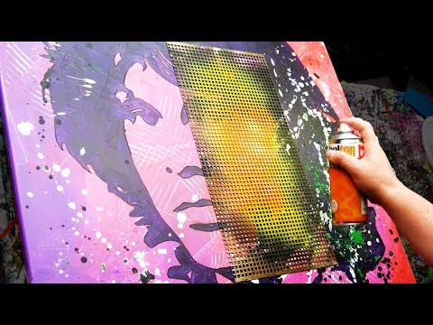 Abstract / Pop Art Painting Demonstration in Acrylics - Brush, Knife, spray - Jim Morrison
