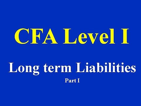 CFA level I- Long term Liabilities- Part-I