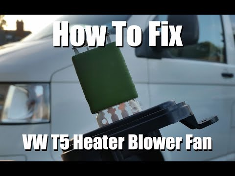 Easy DIY Fix VW T5 Heater Fan Not Blowing on 1 2 3 except on 4 Max, VW Transporter. Replace Resistor