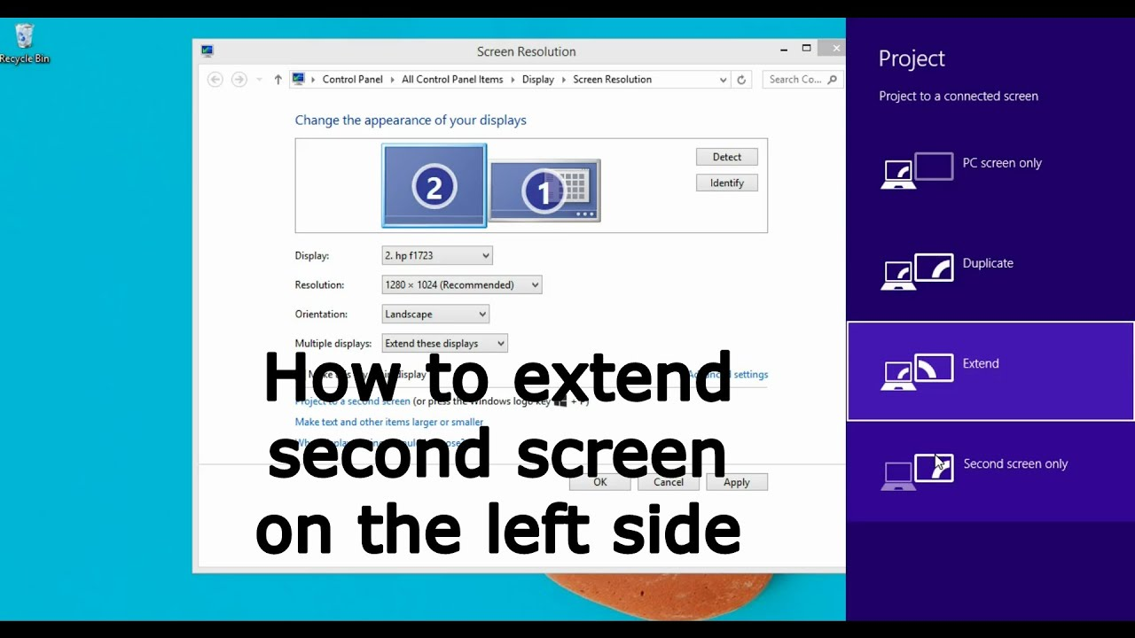 how to expand second screen to the left side