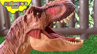 Giant T-rex vs. Mosasaurus! Skyheart Toys Dinosaurs for kids