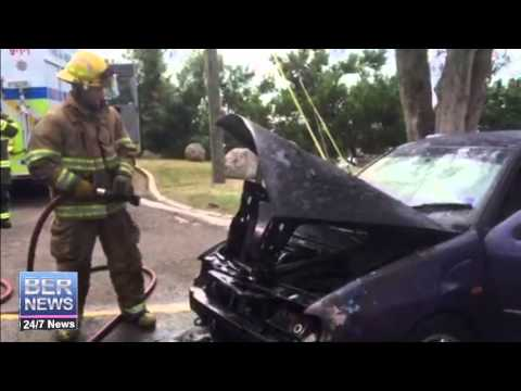 Fire Service Extinguishes Car Fire In Paget, August 11 2015