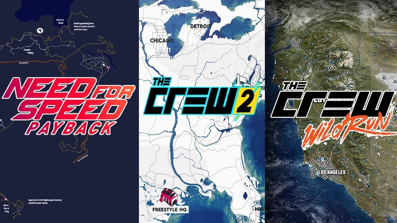 The Crew Vs The Crew 2 Vs Nfs Payback Map Comparison Youtube