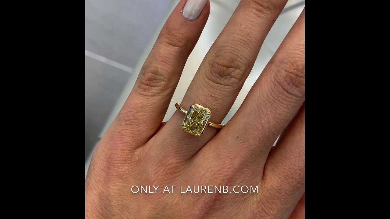 3 carat Radiant Cut Diamond Yellow Gold Engagement Ring