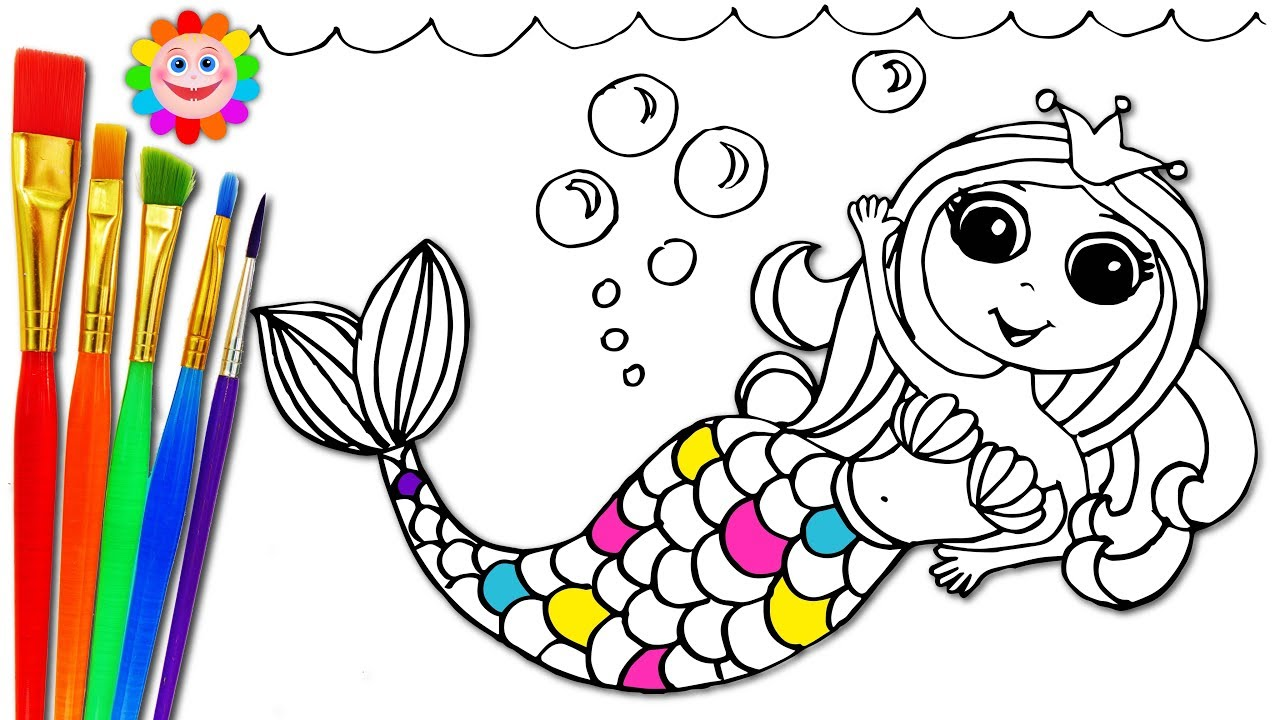 How To Draw Mermaid and Coloring with Markers and ...