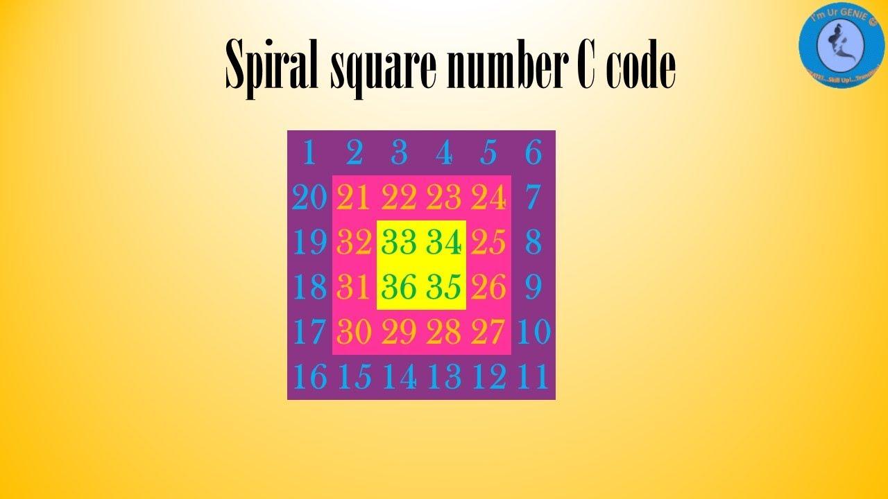 Spiral Square Number Pattern in C Language   #SkillupwithGenie