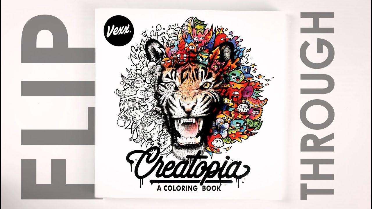 Creatopia: A Coloring Book by Vexx Flip Through