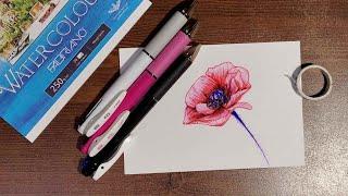 3색 펜 꽃 일러스트 포피(꽃양귀비) 그림 그리기
