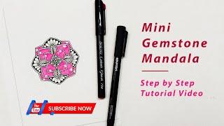 How to draw MINI GEMSTONE MANDALA ART for beginners?😍