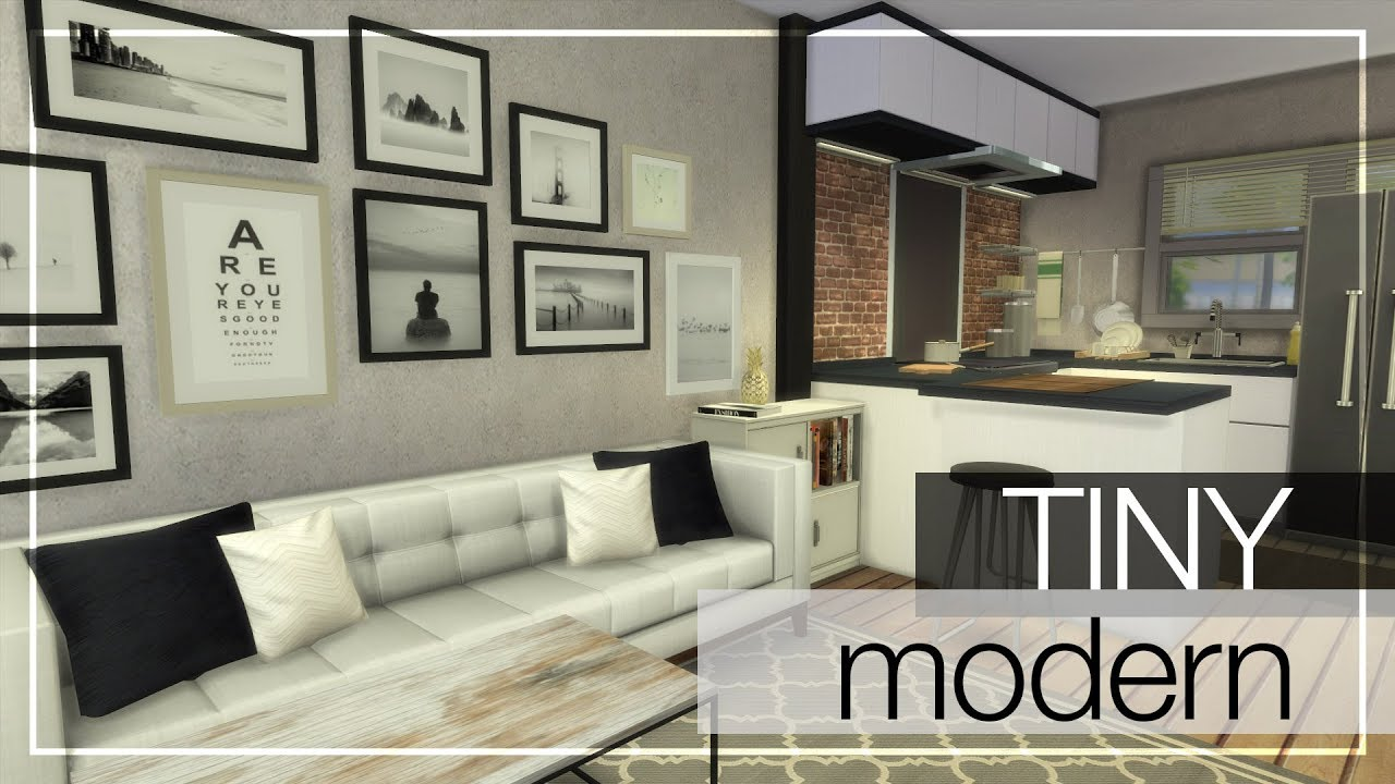Tiny modern home cc links the sims 4 tiny modern house building