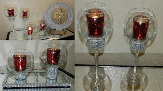DIY Dollar Tree Home Decor Candle Holders| Mirrored Home Decor DIY ideas for Christmas