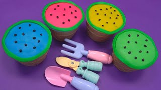 🍉Learn 4 Colors Play Doh in Ice Cream Cups and Hamburger | Juice Cartoon ,Kinder Joy