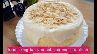 Bánh bông lan phủ sốt phô mai sữa chua tan chảy | Chiffon cheese cake with cheese yogurt sauce