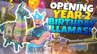 I GOT EVERYTHING! Opening YEAR 2 BIRTHDAY LLAMAS! | Fortnite Save The World