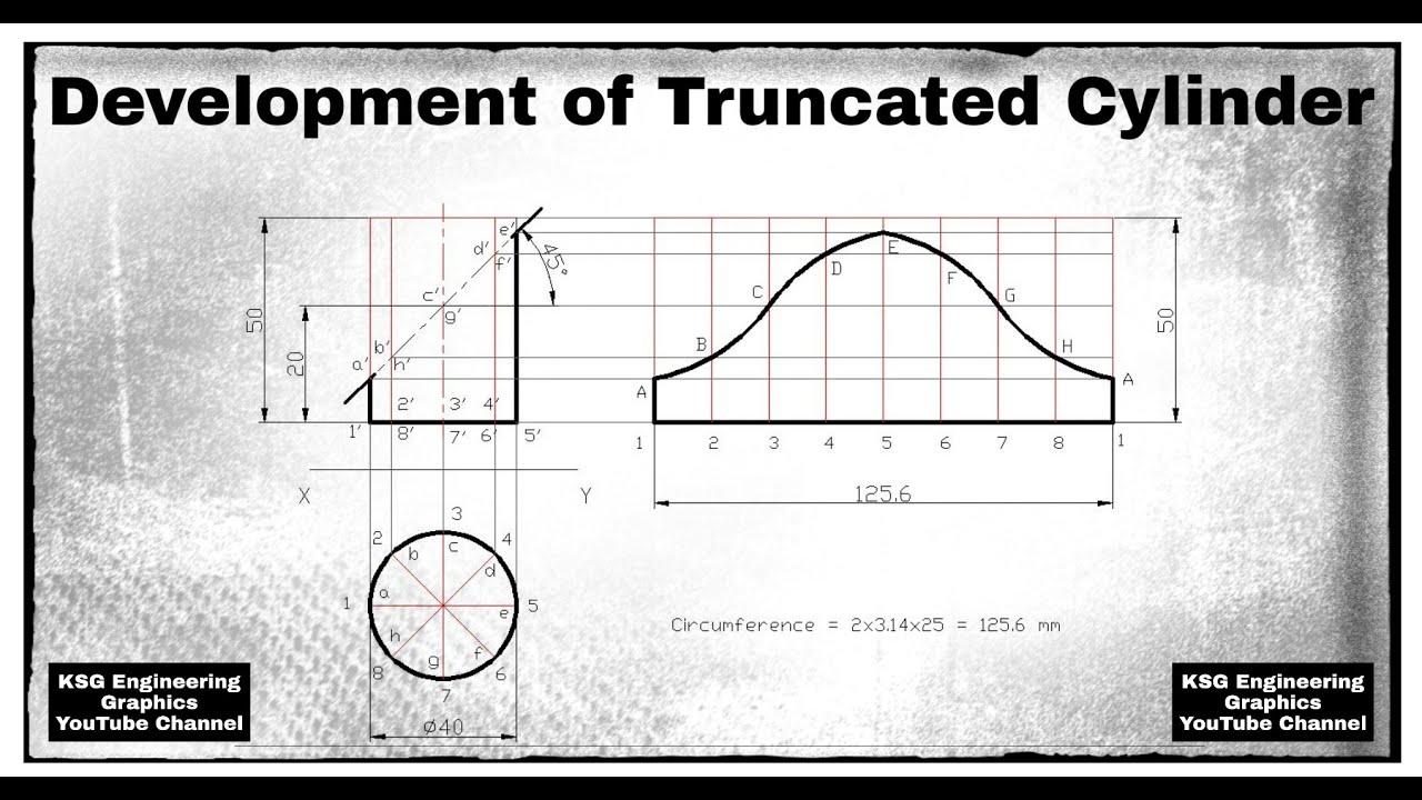 Development of truncated cylinder | Development of ...
