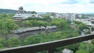 熊本城(5/11)の俯瞰ー熊本市役所14階からの眺め、天守閣、城壁、長塀な...