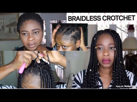 BRAIDLESS CROCHET BRAIDS ON SHORT TWA HAIR/ AFRICAN THREADING METHOD