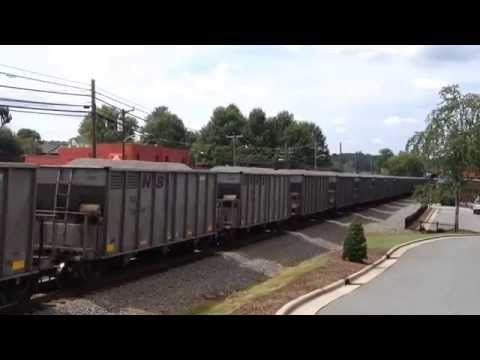 Norfolk Southern 9719 leads loaded lime train 68V past Marion NC depot
