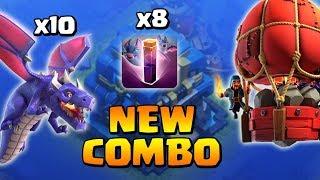 10 Dragon + 8 Bat spell + Khí cầu thả đá | New 3 stars war attack strategy | Clash of clans