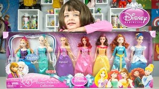 Disney Princess Doll Collection & Name That Princess Ariel Elsa Anna Rapunzel Belle Cinderella