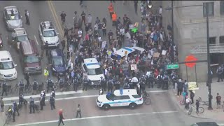 Protesters march in downtown Chicago after death of George Floyd