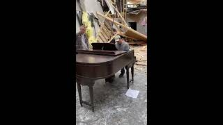 Pastor plays salvaged piano from rubble of church after powerful storms | ABC News