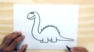 COMO DESENHAR UM DINOSSAURO BEM FÁCIL - Desenhos fáceis para crianças