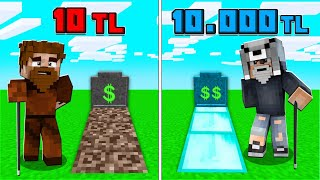 1 TL MEZAR VS 10.000 TL MEZAR! 😱 - Minecraft