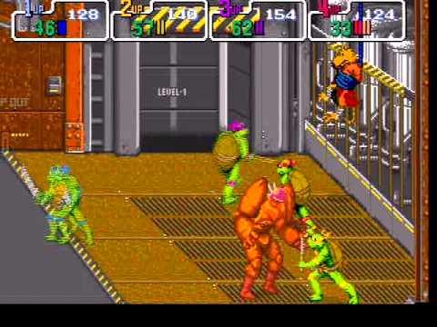Teenage Mutant Ninja Turtles TMNT playthrough Konami 4-players arcade game -Not MAME-