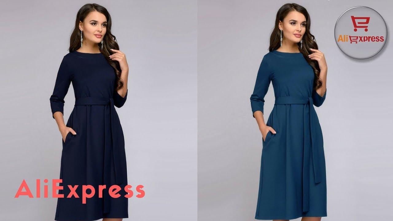 Платья с AliExpress Короткие осенние платья с рукавом три четверти .