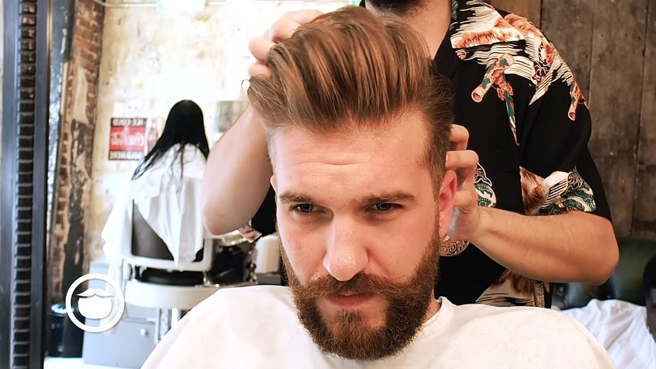 Mens Pompadour With Natural Side Part