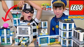 3 Lego City Police Stations in Pretend Play Cops & Robbers Skits