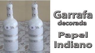 Garrafa decorada com papel Indiano