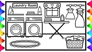 How to Draw a Laundry Room Easy For Kids 👚💙😊 Laundry Room Doll House Coloring Pages