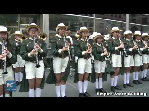 Band of Shanghai No.3 Girls High School performs at the Empire State Building, NYC