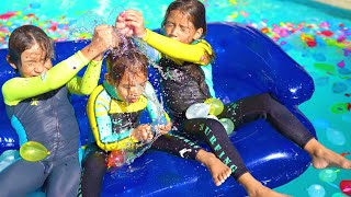 Magic Wand Fills Pool with Water Balloons + Teamwork + Sisters Song