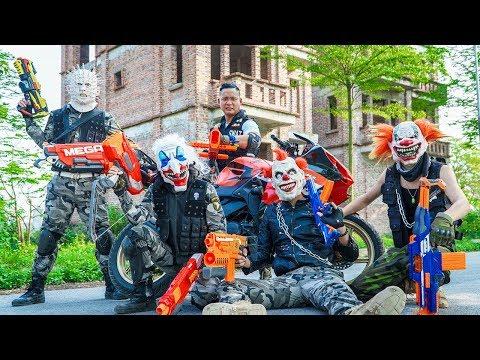 LTT Films : Couple Warriors Silver Flash Nerf Guns Fight Crime Group Tiger Mask Hide Face