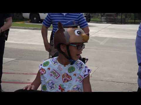 Watch disabled 12-year-old ride her custom tricycle for first time after it was stolen