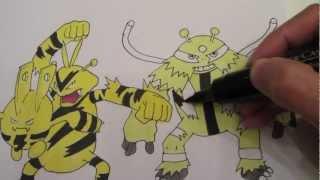 How to draw Pokemon: No.239 Elekid, No.125 Electabuzz, No.466 Electivire