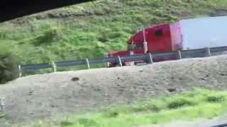 Semi-truck brakes fail and uses emergency runaway truck lane