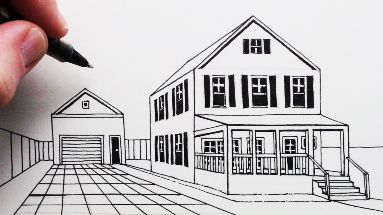How to draw a house and porch in 1 point perspective
