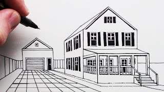 How to Draw a House and Porch in 1-Point Perspective